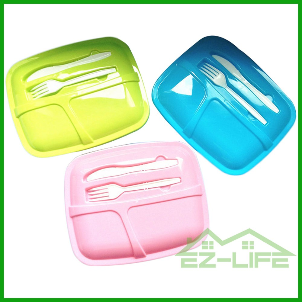 2017 Wholesale 3 compartment reusable kids food container plastic lunch box
