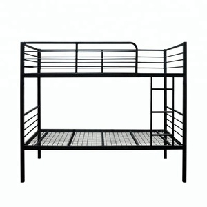 cheap china new design hotel dormitory steel bunk beds for sale with ladder and curtain rod for kids adult use