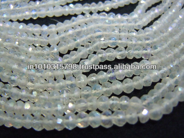 14 Inches Gorgeous Rainbow Moonstone Mystic Coated Quartz Gemstone Faceted Roundelle Beads Size 4MM Approx Wholesale