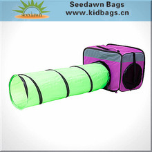 Pop-up Expandable Mesh Tunnel Pet Carrier Cage Bag with Breathable Thick Resin Plastic Mesh Panels Handle Holder