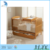 Kids bed room set solid pine wood baby crib with storage drawers in natural wood color