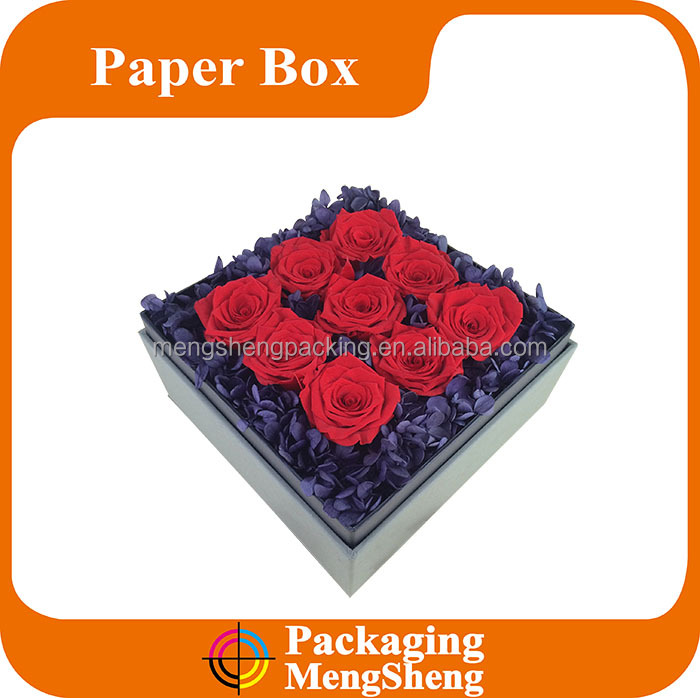Beautiful square shaped flower gift boxes in China