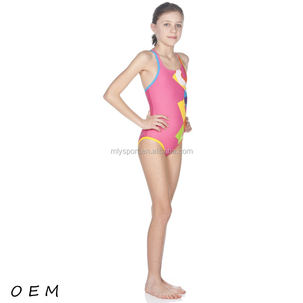 young girls pink sublimation swimwear kids bikini