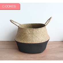 Best selling Eco-friendly black dipped seagrass belly basket from China