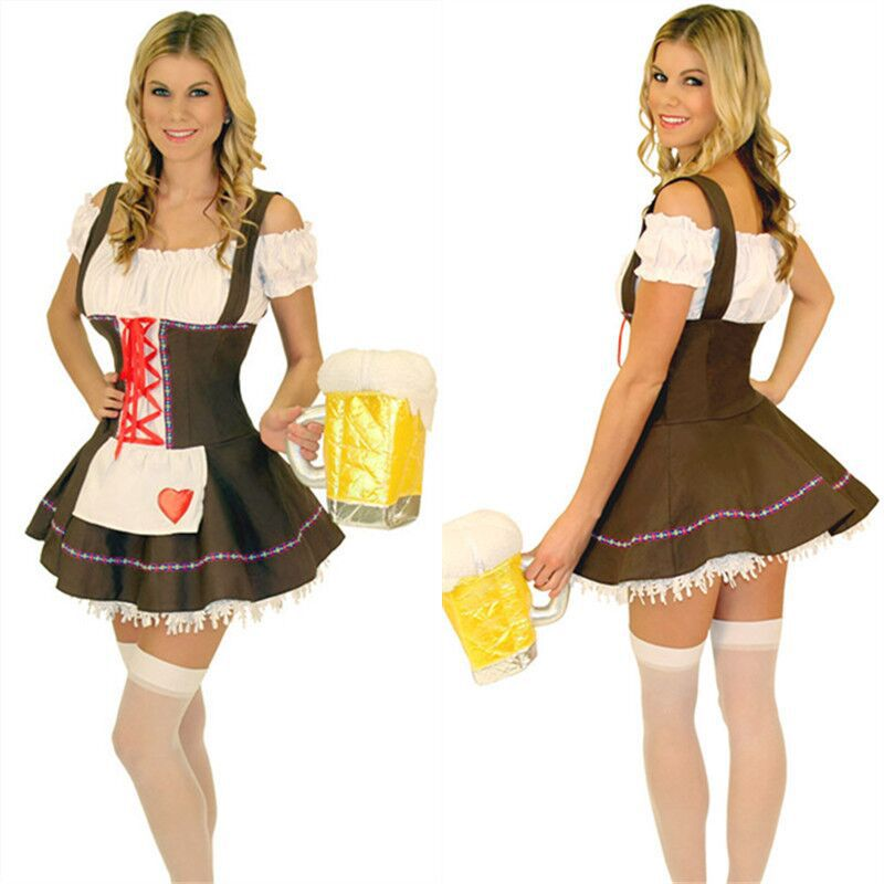 Brown Sexy Halloween Maid Costume Beer Girl Uniform Dress Costumes Oktoberfest Festival Stage Party Costumes COS Play
