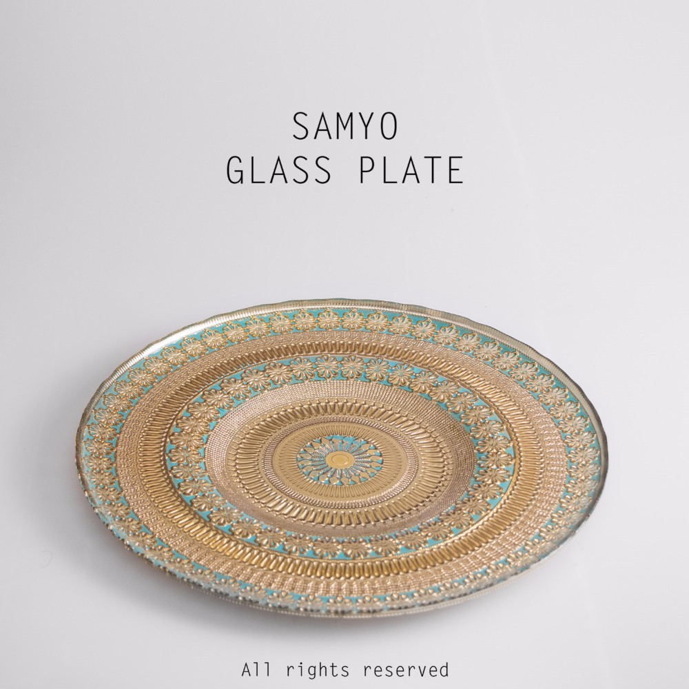 "Samyo 13"" wholesale classical blue glass charger <strong>plate</strong> with gold bulk lace decorative"