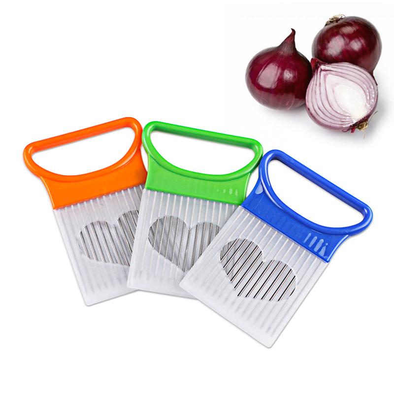 Easy Cut Onion Holder Fork Stainless Steel+Plastic Vegetable Slicer TomatoCutter