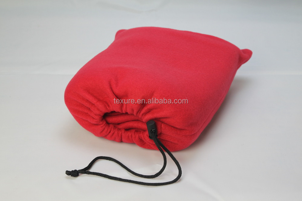 100%Polyester Solid Color Polar Fleece Travel Blanket with Drawstring Bag