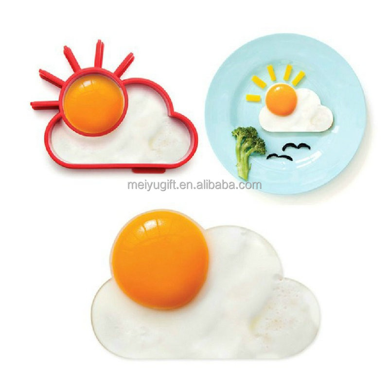 Ecofriendly silicone egg cooking ring mold, cloudy sunshine egg fried mold for promotion