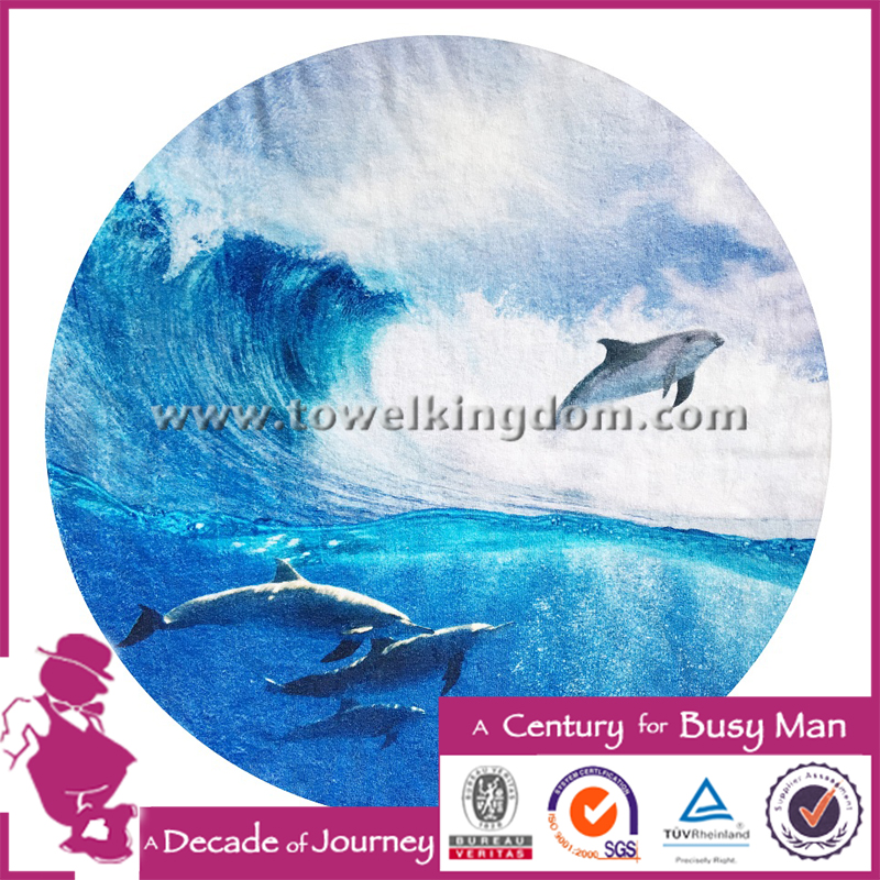 china suppliers the high quality 4k digital cotton custom printed round beach towel with the best price