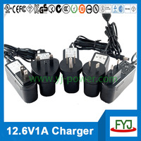 wall charger 12.6v 1a for rechargeable battery pack