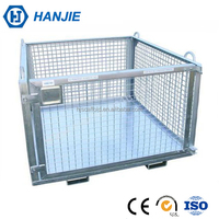 Large capacity wire mesh storage container collapsible steel pallet cage