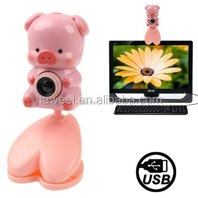 USB 2.0 Cartoon Pink Pig Style 0.48 Mega Pixels Driverless PC Camera / Webcam, Cable Length: 1.2m