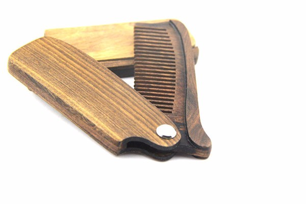 FQ Brand Wholesale folding wooden beard comb custom logo sandalwood v comb
