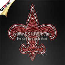 Red rhinestone iron on fleur de lis transfer