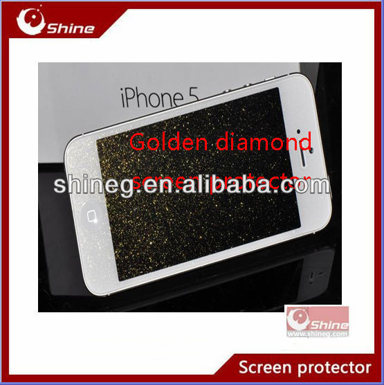 Sparkle golden diamond lcd screen guard for iphone 4/4s/5