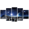 5 Panel HD Printed Stars and Snow Landscape Painting Modern Planet Canvas Prints Wall Picture Home Decor/SJMT1890