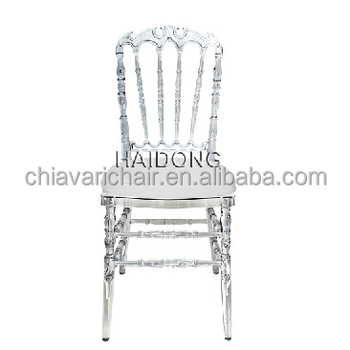 China Crystal Polycarbonate Resin Royal Chair with Soft Cushion
