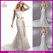 QQ3090 strapless beautiful beautiful lace overlay wedding dresses for mature women