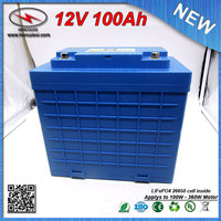 Water Proof LiFePO4 360W Lithium battery 12V 100Ah Car Battery built in 3.2V 3300mAh 26650 cell with 30A BMS FREE SHIPPING