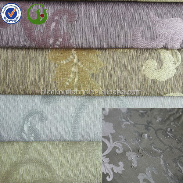 luxury jacquard blackout curtain fabric for home decoration with waterproof