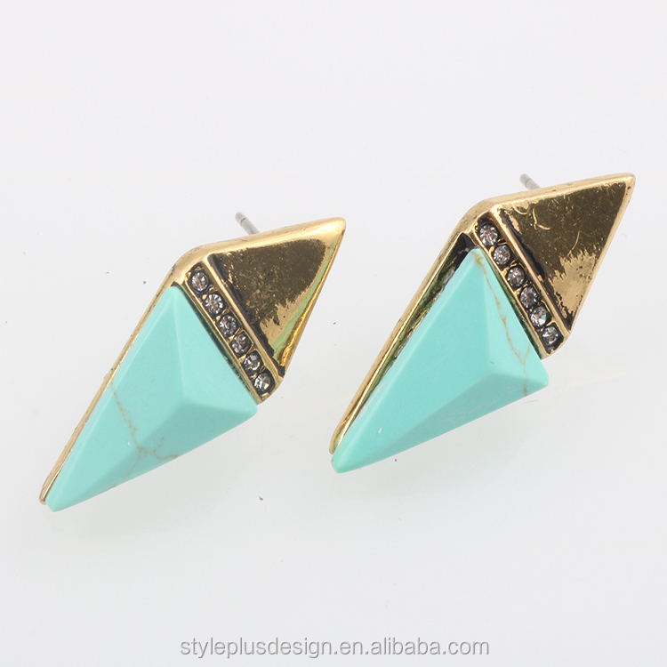 E81026L01 Anchor Branded Earrings Costume Jewelry Rhombic Green Agate Gold Vintage Earring