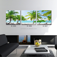 Natural Scenery Oil Painting Beautiful Coconut Tree on the Beach Large Prints on Canvas 3 Piece Wall Paintings