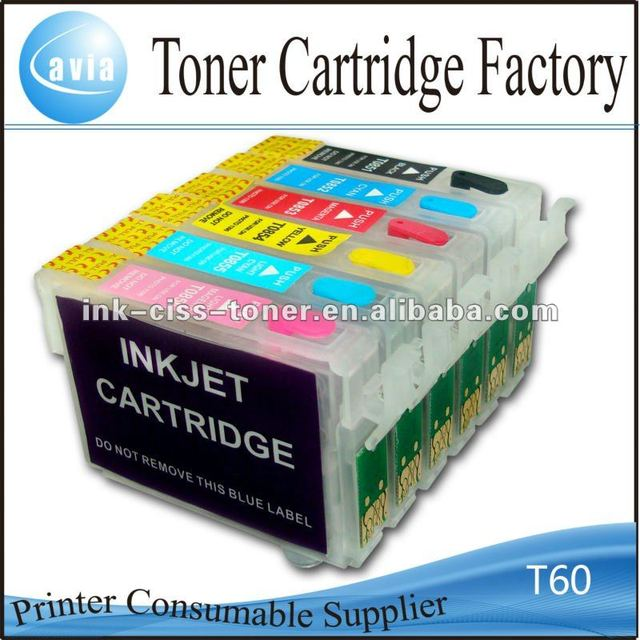 Refillable Ink Cartridge T60 with Chip Reset for Epson Inkjet 1390