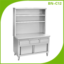 high quality stainless steel kitchen cabinet with drawers & over shelves