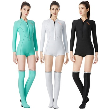 Hot Sale 1.5MM Long-Sleeved Women Diving Suit Surfing One Piece Wetsuit with Stockings