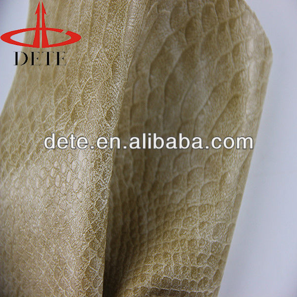 Snake Skin Pattern Embossed Synthetic PU Textile Raw Material