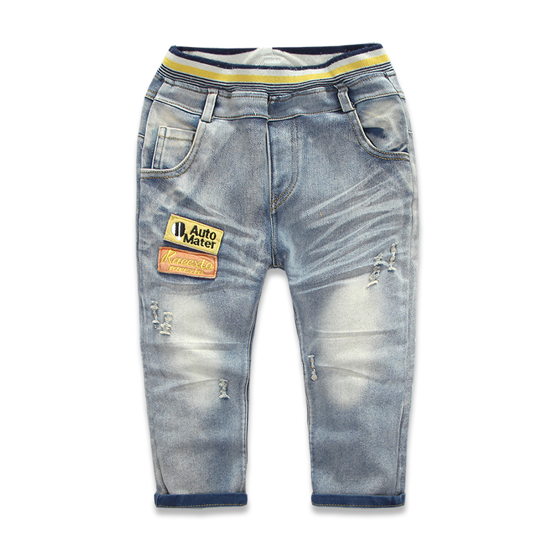 Brand Kids Pants Boys Jeans Elastic Waist 2015 New Arrival High Quality Letter Patchwork Casual Denim Jeans For Boy