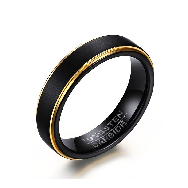 wholesale 316L Tungsten steel ring 5mm <strong>black</strong> & gold plated Scrub rings for women men gift jewelry