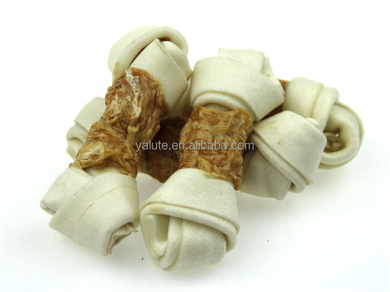 100% natural chicken and knotted rawhide bone wraps dog treat