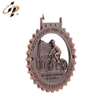 2019 Wholesale cheap zinc alloy custom red antique bronze cycling sports medal