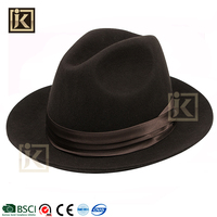 JAKIJAYI wholesale glued strong winter wool made brown fedora felt hats