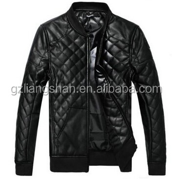 OEM Custom NEW Men's Short Slim leather motorcycle jacket stitching Quilted Collar Cotton coat PU jacket