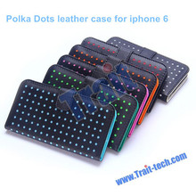 Polka Dots Pattern Flip Wallet Style Magnetic Buckle PC+PU Leather Case for iPhone 6 4.7 inch