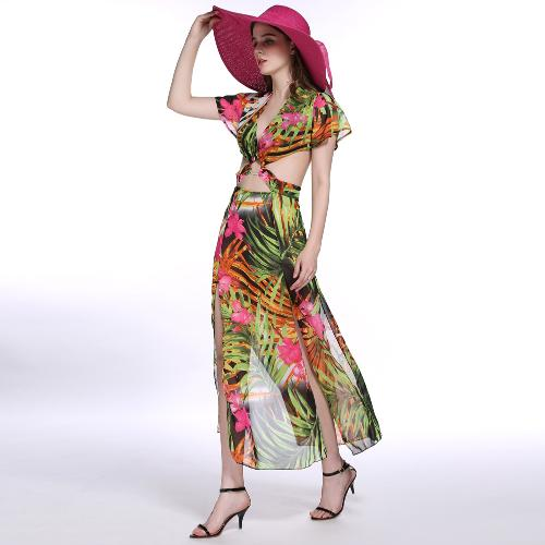 New Europe Sexy Women Maxi Dress Leaves Print Plunge V Neck Cut Out Cross Waist Split Casual Elegant Beachwear Long Dress Green