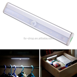 TOP Selling 10 LED Wireless Motion Sensing Night Light Cabinet Light Stick-on Motion Sensing Light Bar With Magnetic Strip