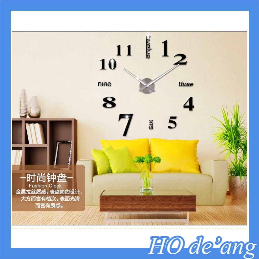 Hogift Modern DIY Large Wall Clock 3D Mirror Surface Sticker Home Office Decor Black