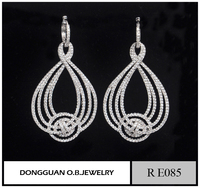 Hot selling AAA clear CZ earring / fashion made big hanging earrings