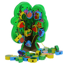 hot sell interesting green wisdom tree board around fruit bead children wooden toy educational