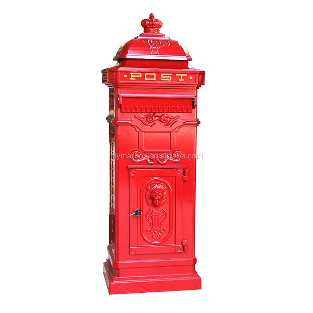 Cast Aluminiun Garden European Style Stand Antique outdoor Mail Box letterbox