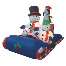 Christmas street light decoration Inflatable skating snowman