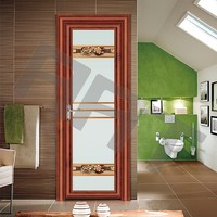 Imitation-wood aluminum alloy swing bathroom doors