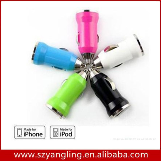 Safety Bullet 5v 1a Single USB Mini Car Charger for <strong>iphone</strong> 5 4 4S 6 plus Cell Phone PDA MP3 MP4 player