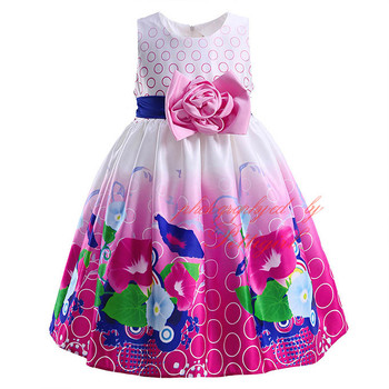 2016 Spring And Summer Girls Printed Dresses Sleeveless Girl Fashion Dress Cute Children Clothing DMGD90103-7