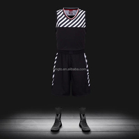 Custom sublimated 100 polyester black basketball uniforms logo design