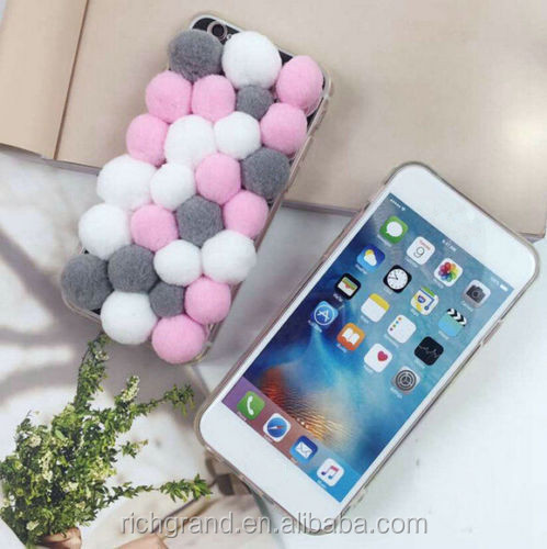 Cute Plush Balls Tpu Back Phone Case Cover For Iphone 5/5s/6/ 6s/6 Plus